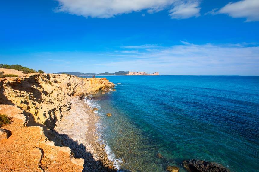 vista aerea Sa Caleta beach in Ibiza