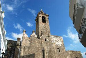 Frontal facade San Salvador church in Vejer de la Frontera