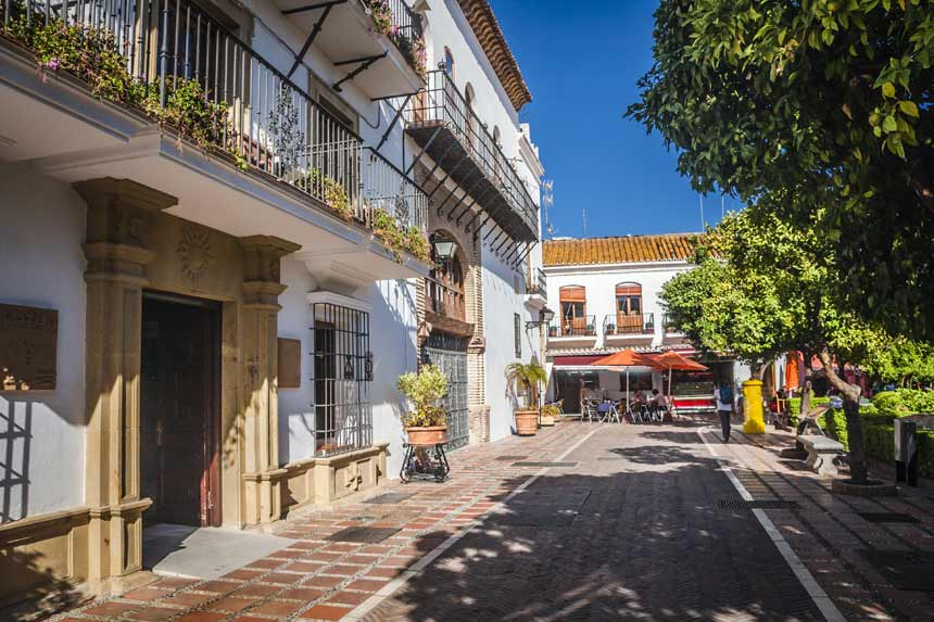 Naranjos square located in Marbella old town