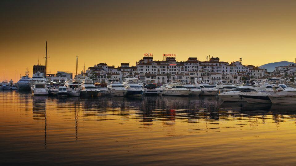 Sunset Puerto Banus in Costa Del
