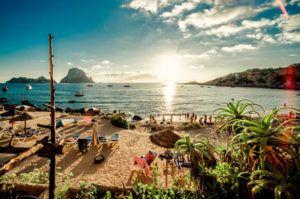 beautifull sunset in Cala d'Hort Ibiza and Es Vedrá island
