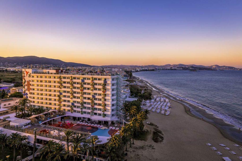 Sunset in Playa den Bosa in Ibiza