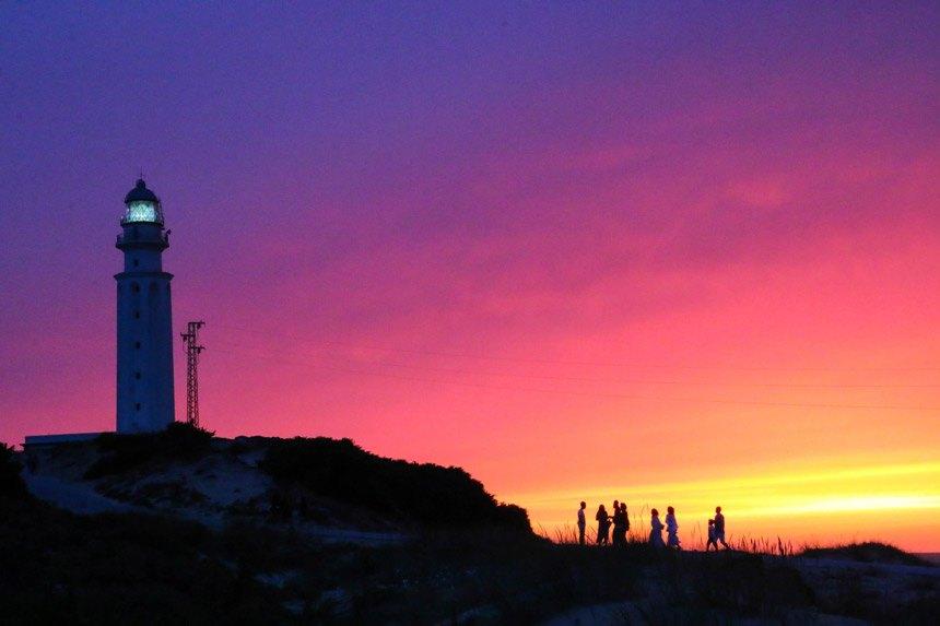 Sunset in Trafalgar Lighthouse beach trafal