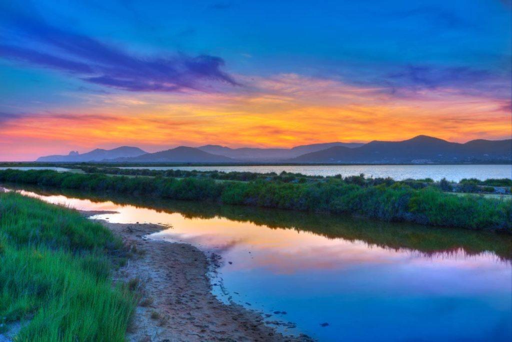 Beautifull sunset in the Natural Park Ses Salines in Sant Josep de Sa Talaia