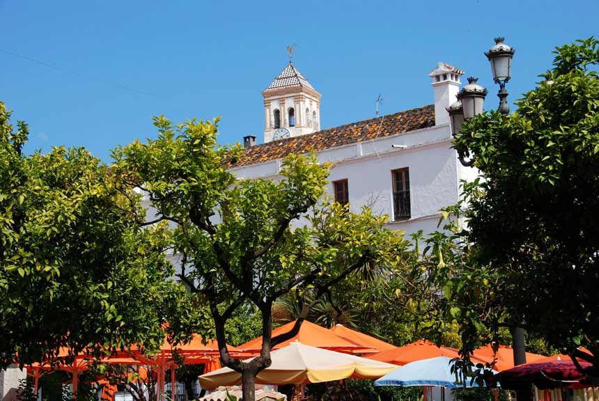 Naranjos square in the heart of Marbella old town