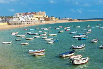 Traditional-boats-in-Playa-La-Caleta-,-Cadiz