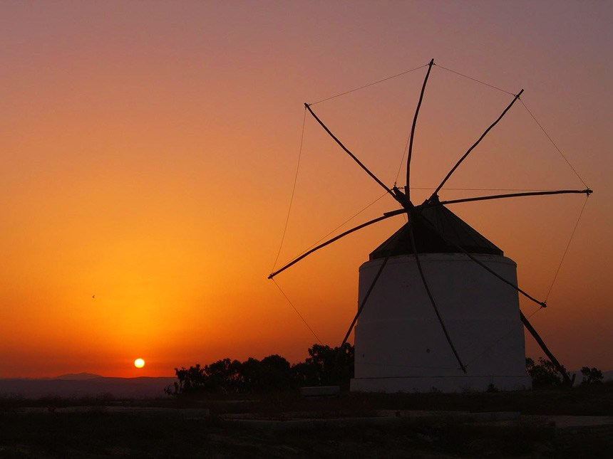 Beautifull sunset over the Windmills-in-Vejer-de-la-Frontera