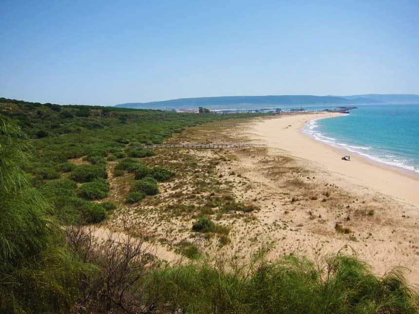 panoramica de la playa de la Hiervabuena en Barbate
