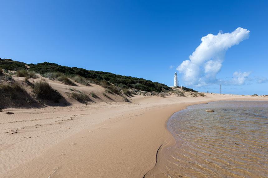 Gran playa del Cabo de Trafalgar en Barbate