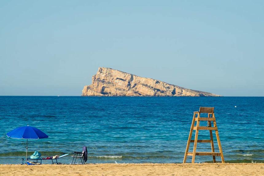 Beautifull Benidorm island panoramic view from the beach