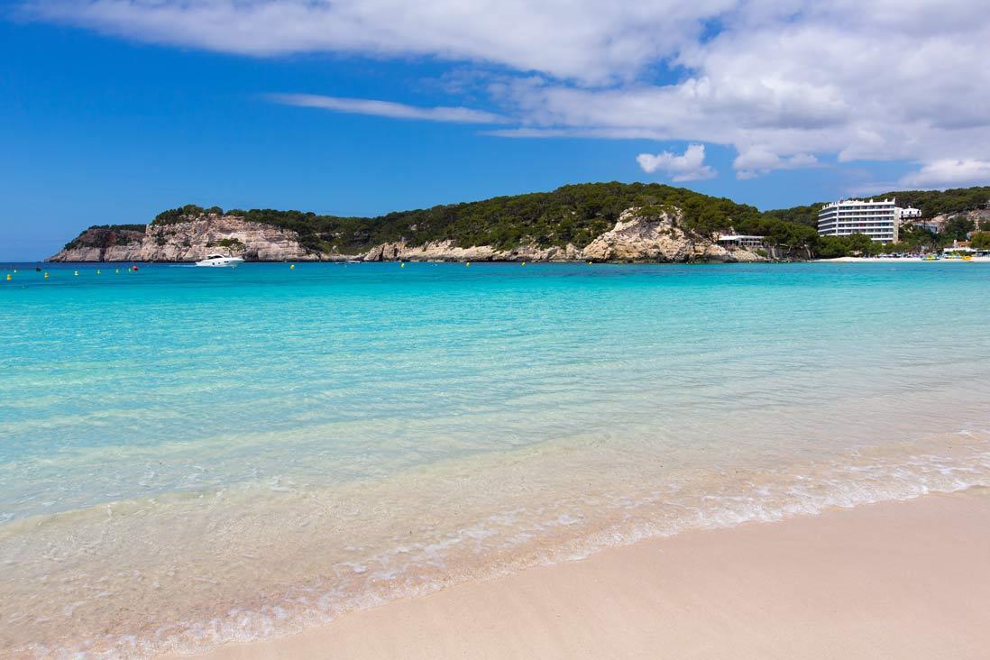 Turuois water in Cala Galdana beach in Menorca