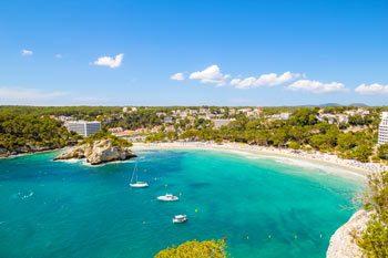 Panoramic view Cala Galdana in Menorca