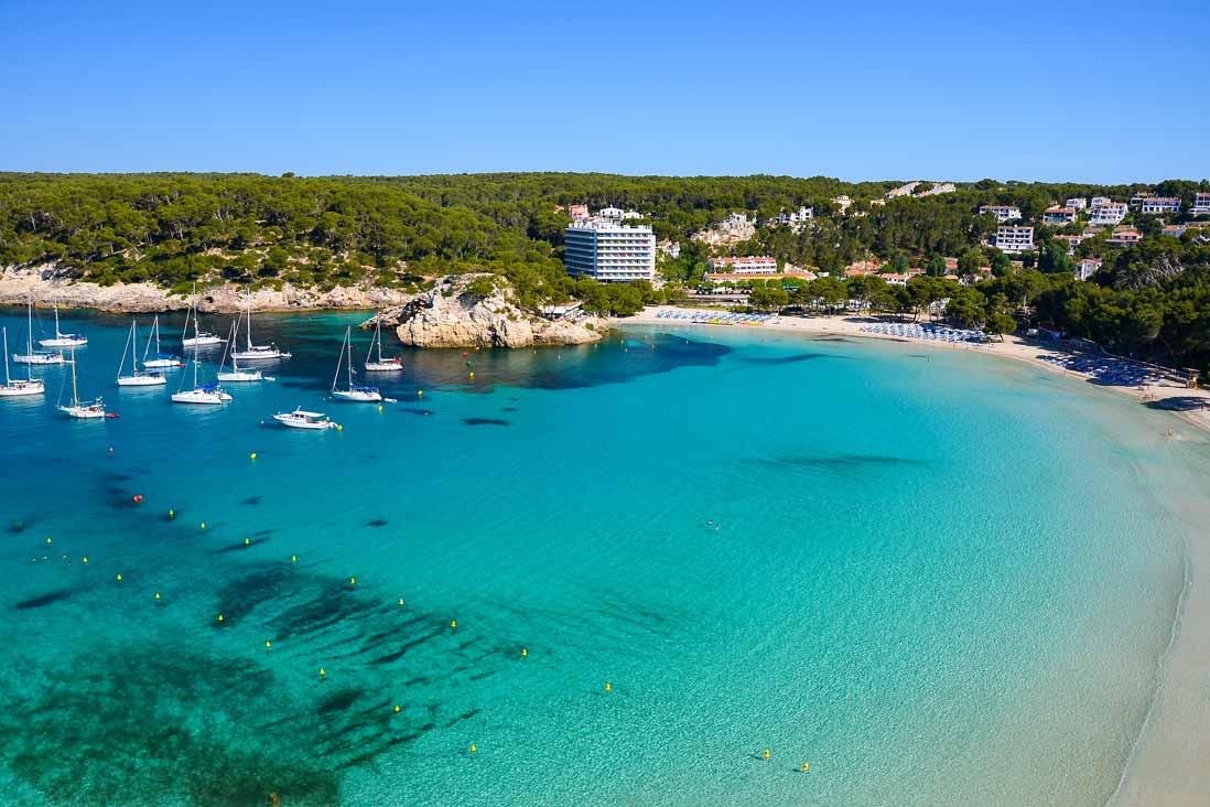 Panoramic view Cala Galdana beach in Menorca
