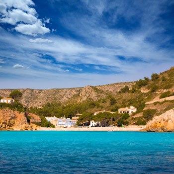 Cala granadella beach panoramic view