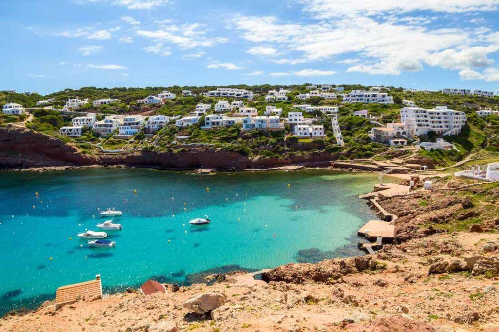 Panoraic view Cala Morella beach in Menorca