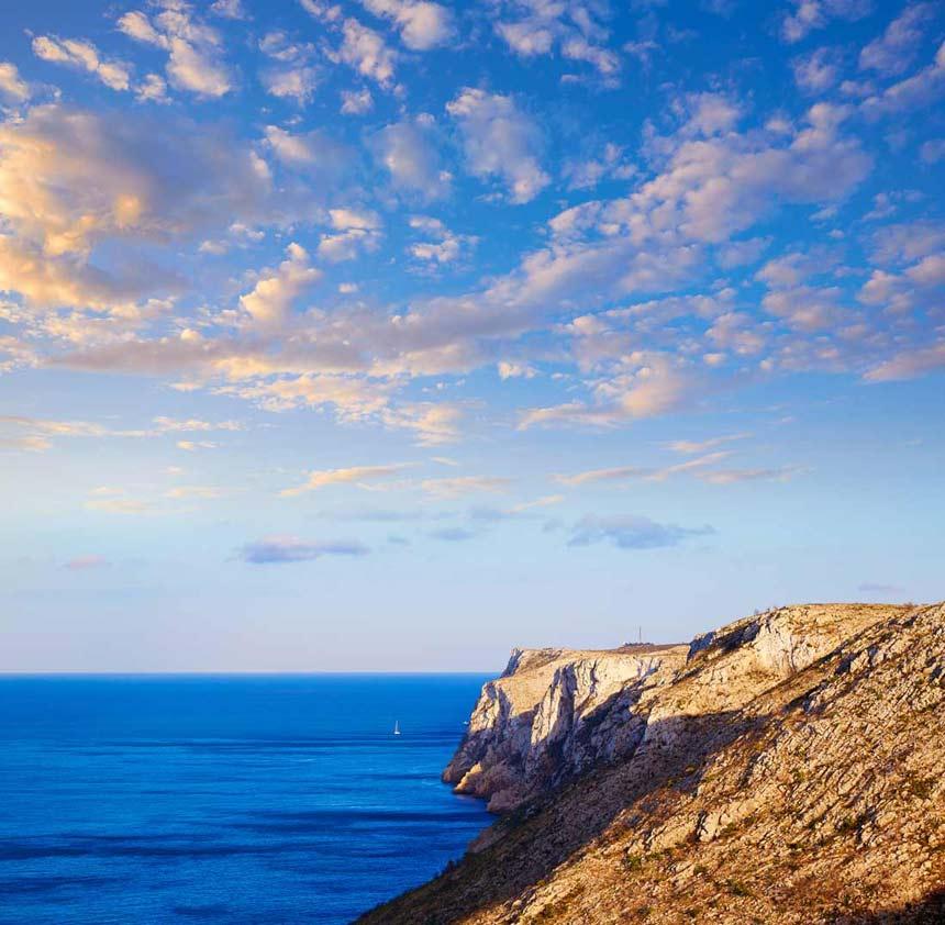 The essential tourist spots of Denia beautifull landscape in Sant Antoni Cape