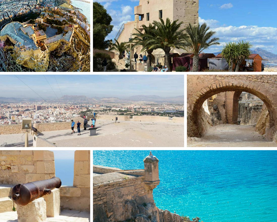 Photo collage Alicante and Santa Barbar Castle