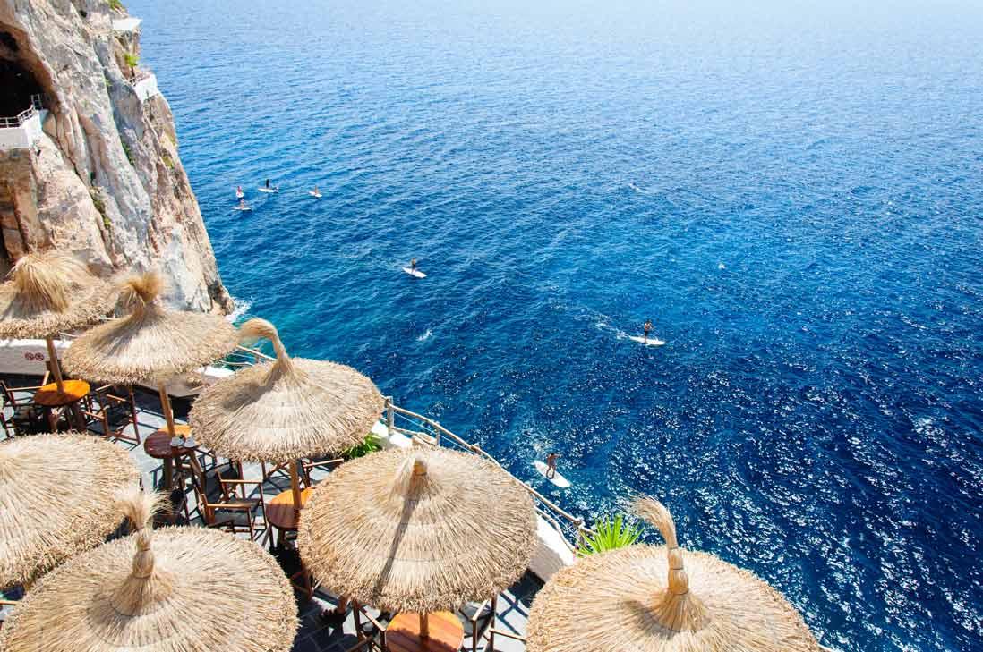 Spectacular cliffs in Cova den Xoroi of Menorca