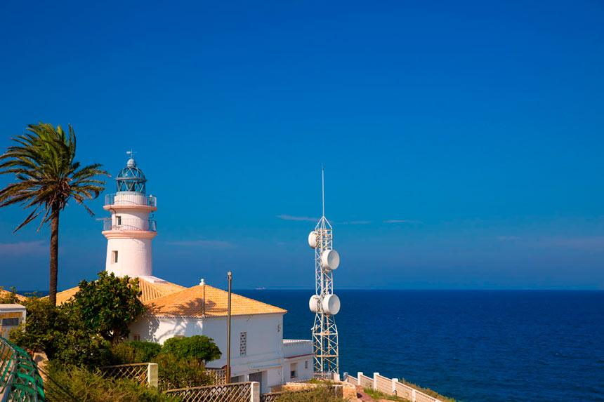 Cullera lighthouse infront of the sea