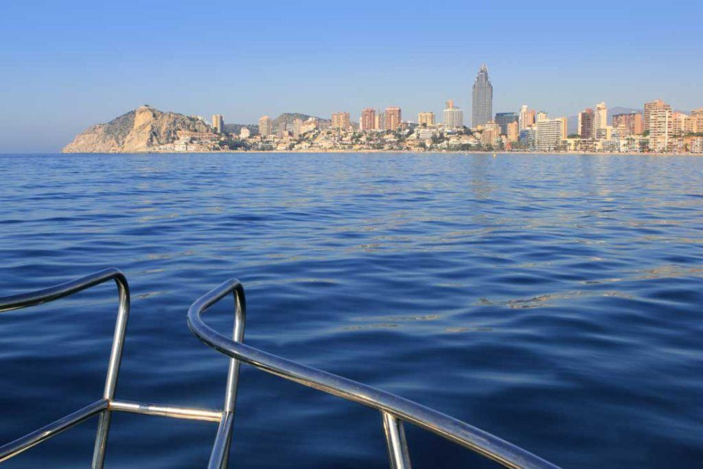 Panoramic view over Benidorm city from a boat
