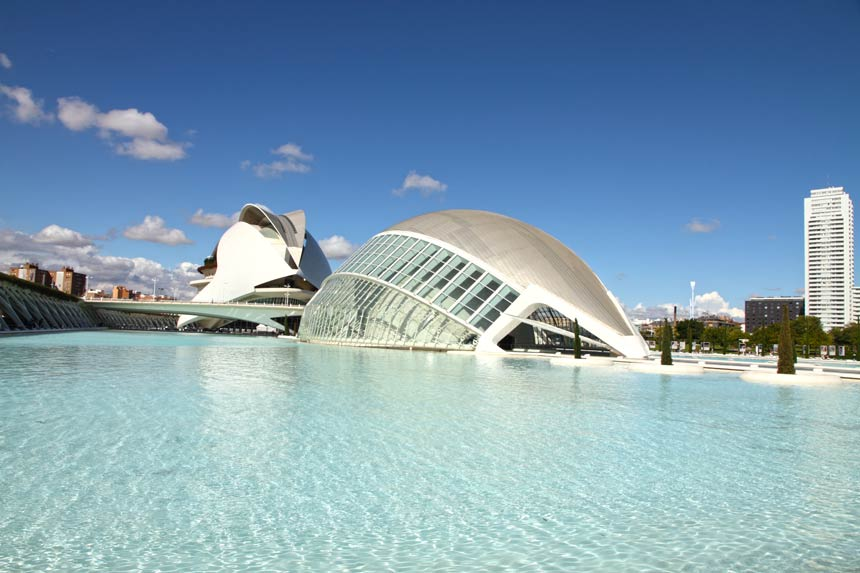Hemisferic building in the city of Arts and Science of Valencia