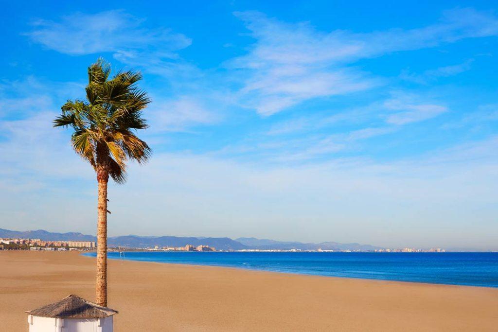 Beautifull Malvarrosa beach empty in Valencia