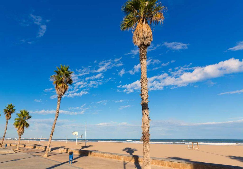 Malvarrosa beach empty in Valencia