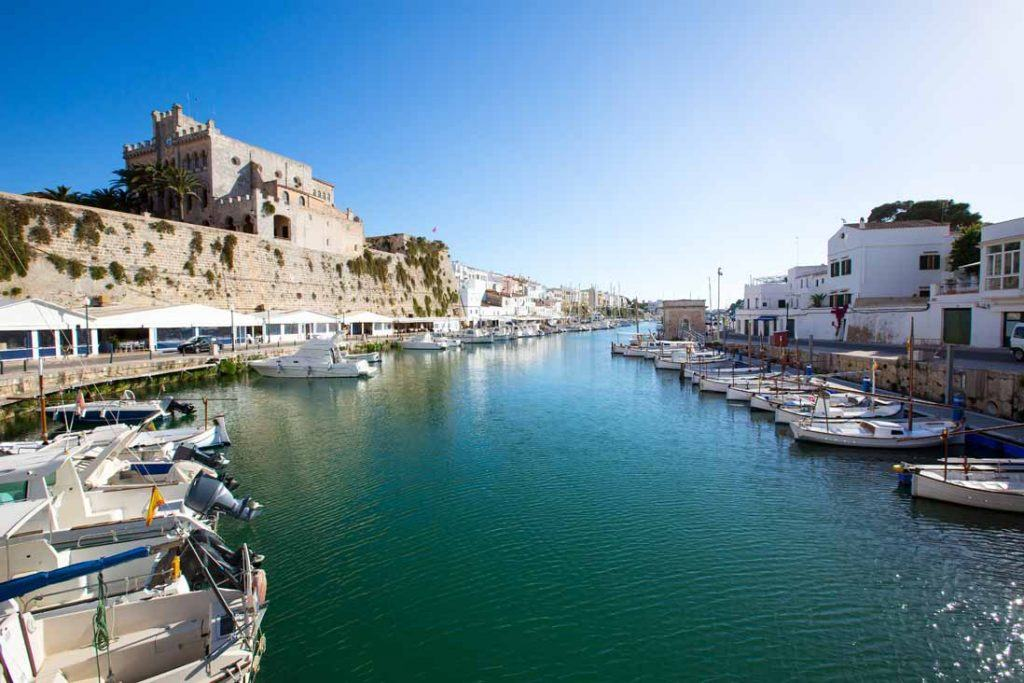 Beautifull panoramic view of the Port of Ciutadella in Menorca