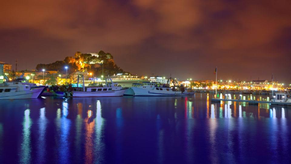 Port of Denia at night Alicante