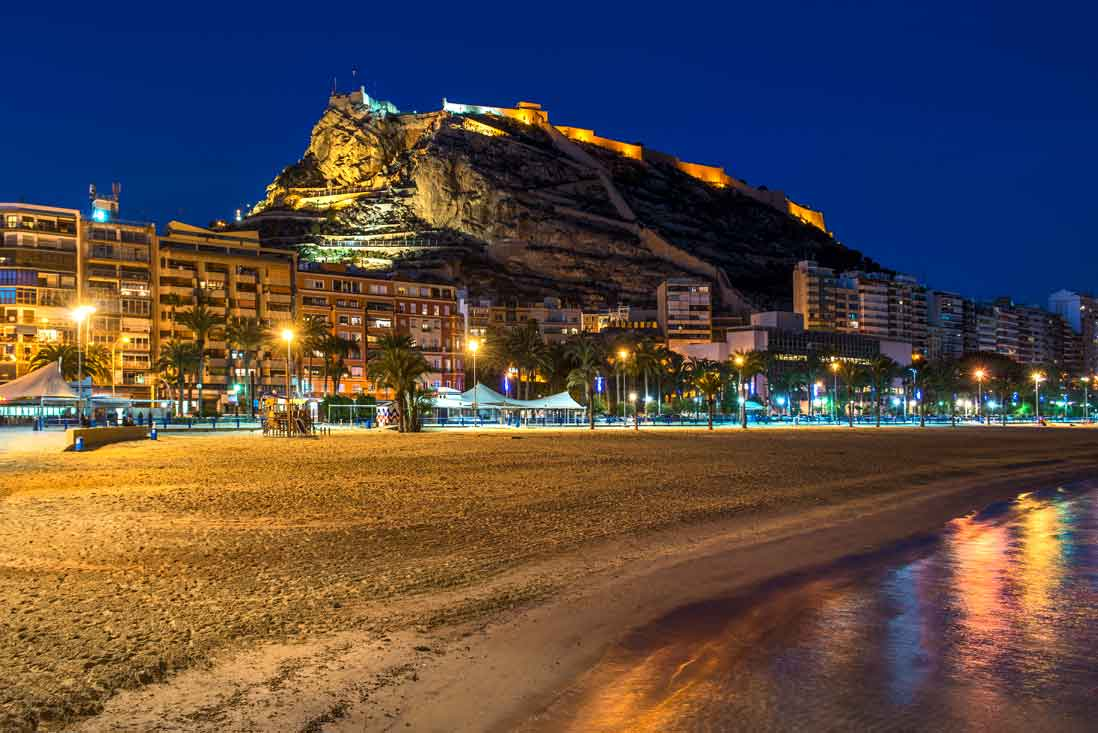 Alicante beach and Santa Barbara Castle