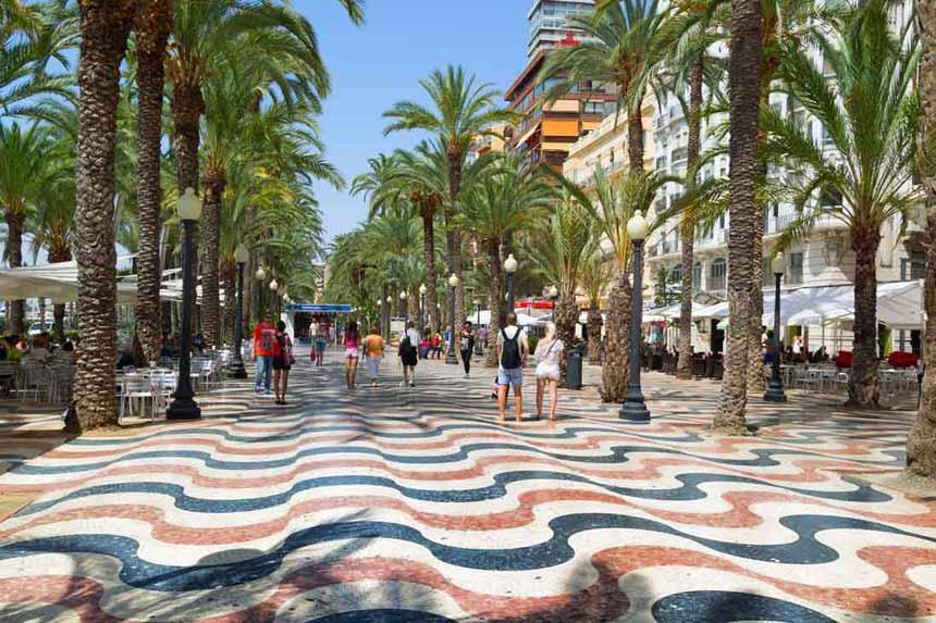 Main promenade in Alicante Paseo de la Esplanada