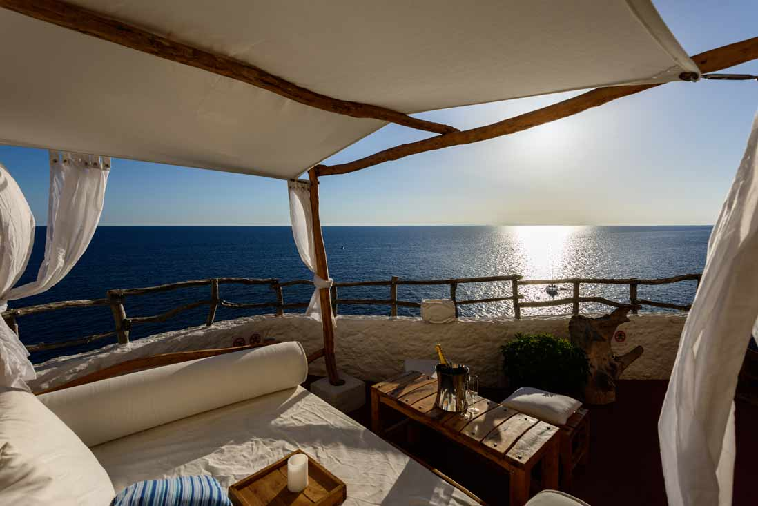 Lovely sunset in Relaxed terrace in Cova den Xoroi, Menorca