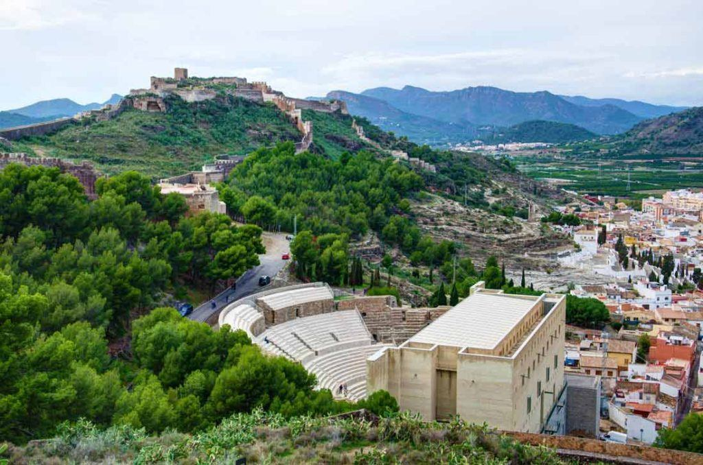 Aereal view of Sagunto castle in Costa Valenciana