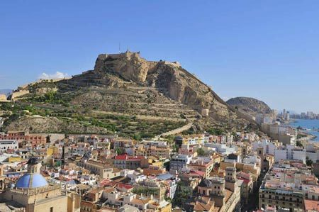 Santa Barabara Castell and Barrio de Santa Cruz panoramic view in Alicante