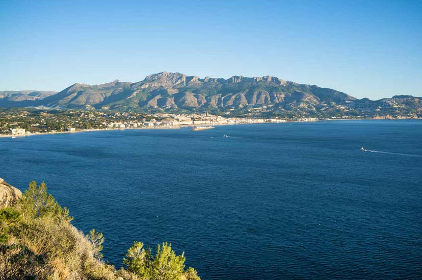 The Sierra de Bernia Natural Park and Altea panoramic view