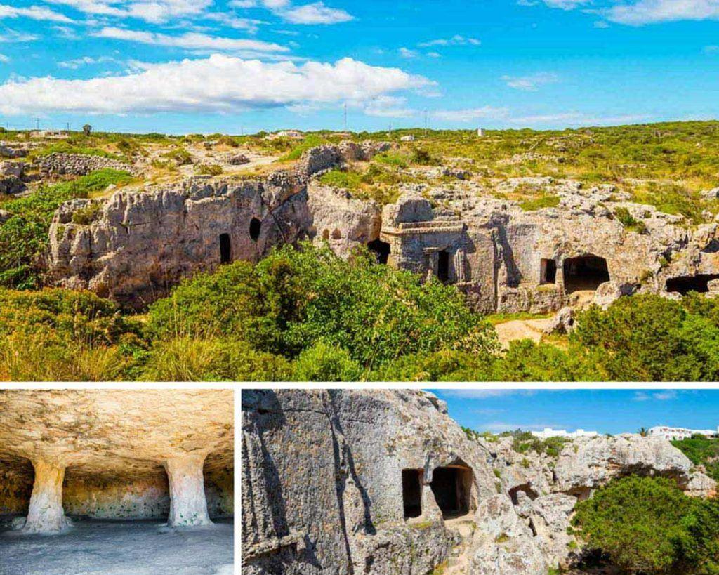 Collage photos of the Talayotic-Necropolis-of-Cala-Morell-in-Menorca