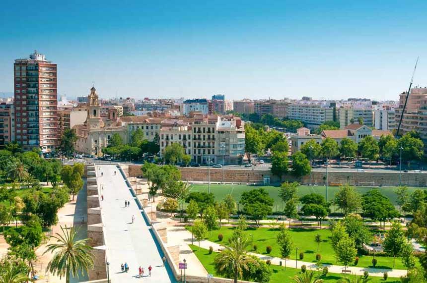 valencia centre Turia Gardens aereal view in Valencia city centre