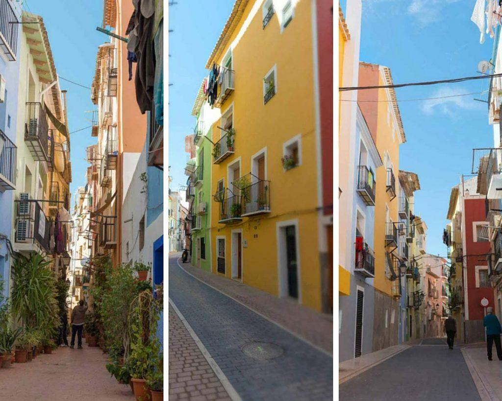 Photo collage narrow streets in Villajoyosa