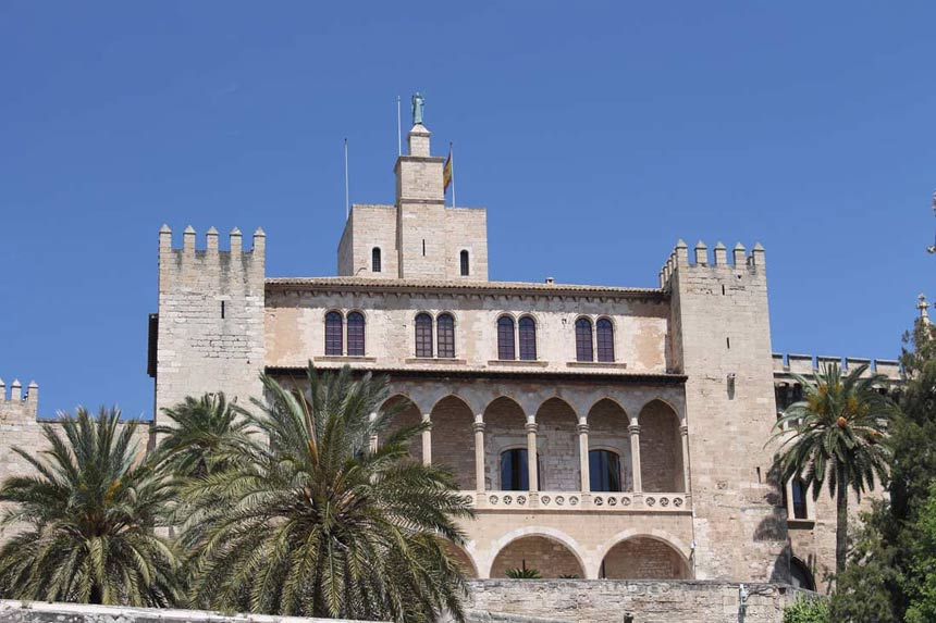 Frontal facade of the Palace of Almudaina in Mallorca
