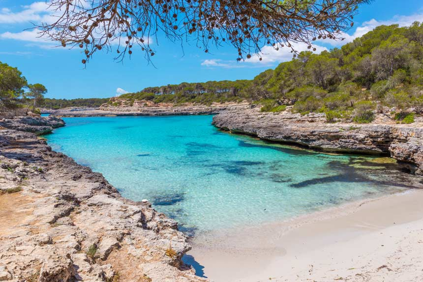 Beautifull turquois waters in Cala Mondrago Mallorca