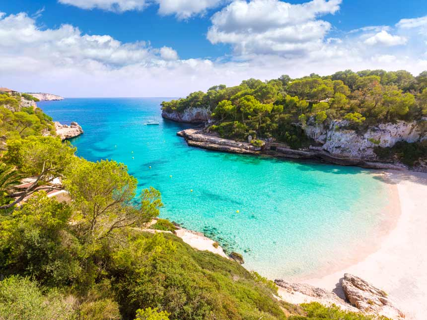Beautifull panoramic view of the Cala Llombards in Mallorca