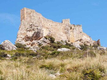 Panoramic view of the Castillo del Rey and his old walls in Pollensa