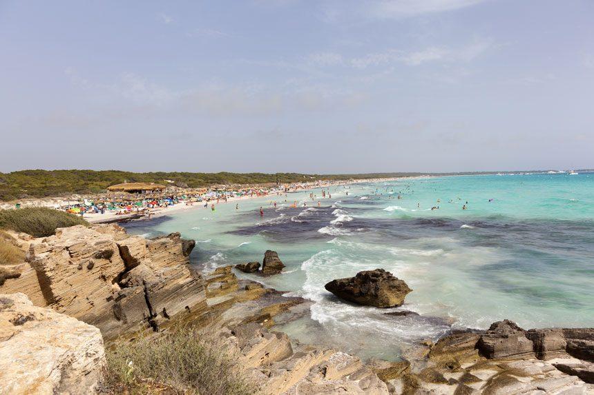 Beautifull Es Trenc beach Mallorca panoramic view