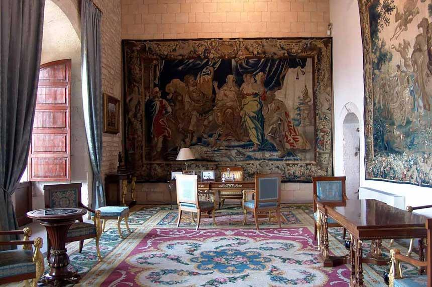 Royal bedrooms inside the Almudaina palace in Palma de Mallorca
