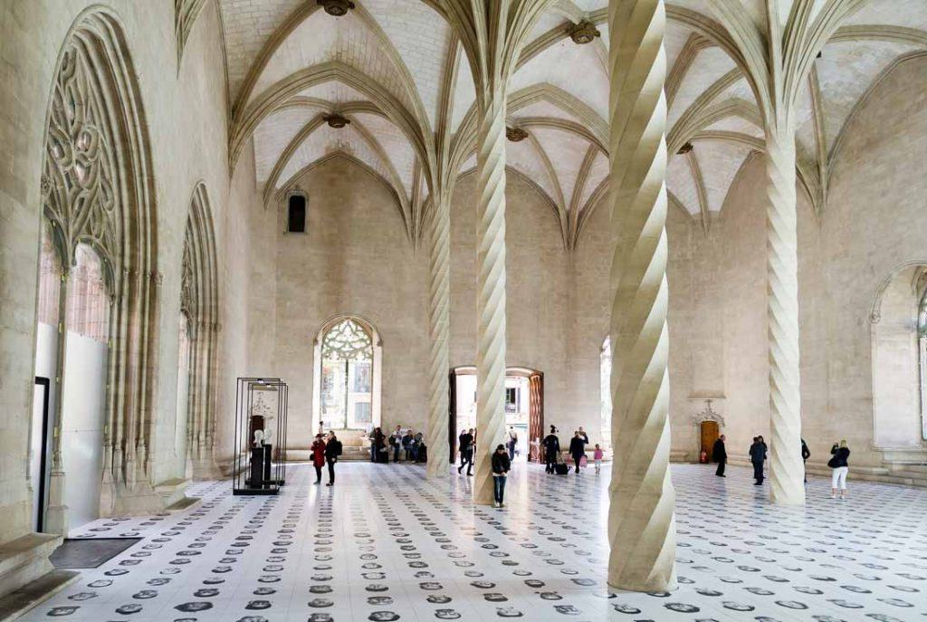 Spectacular picture from inside the buiding of La Lonja in Palma de Mallorca