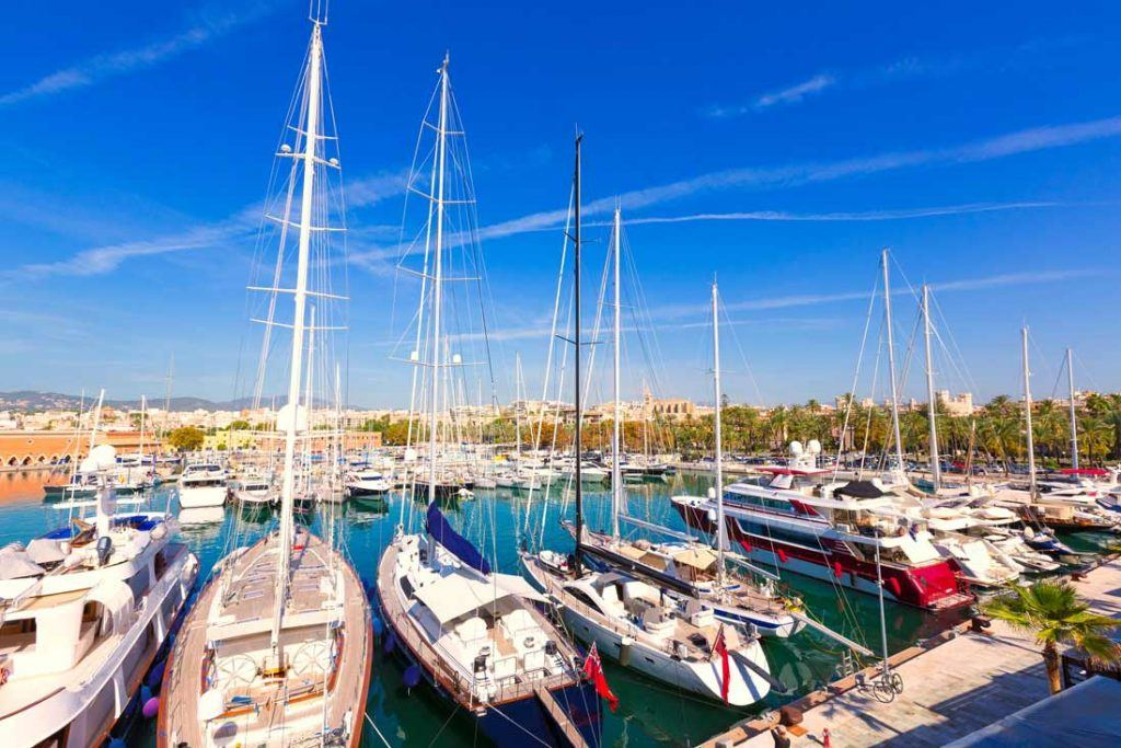 Luxury boats at the port of Palma