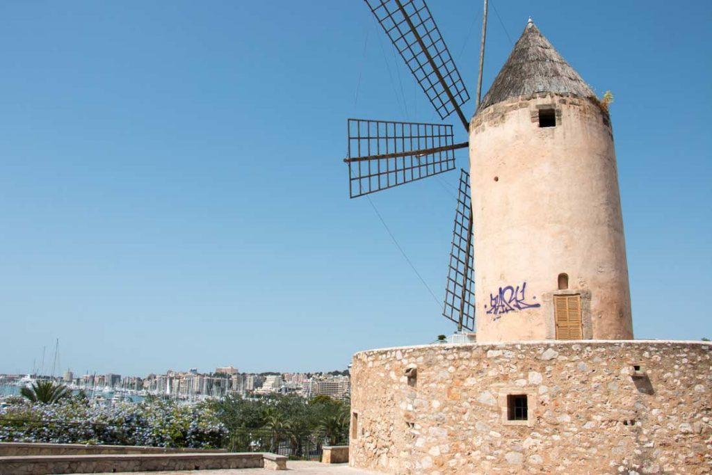 Old windmills looking over Palma de Mallorca port