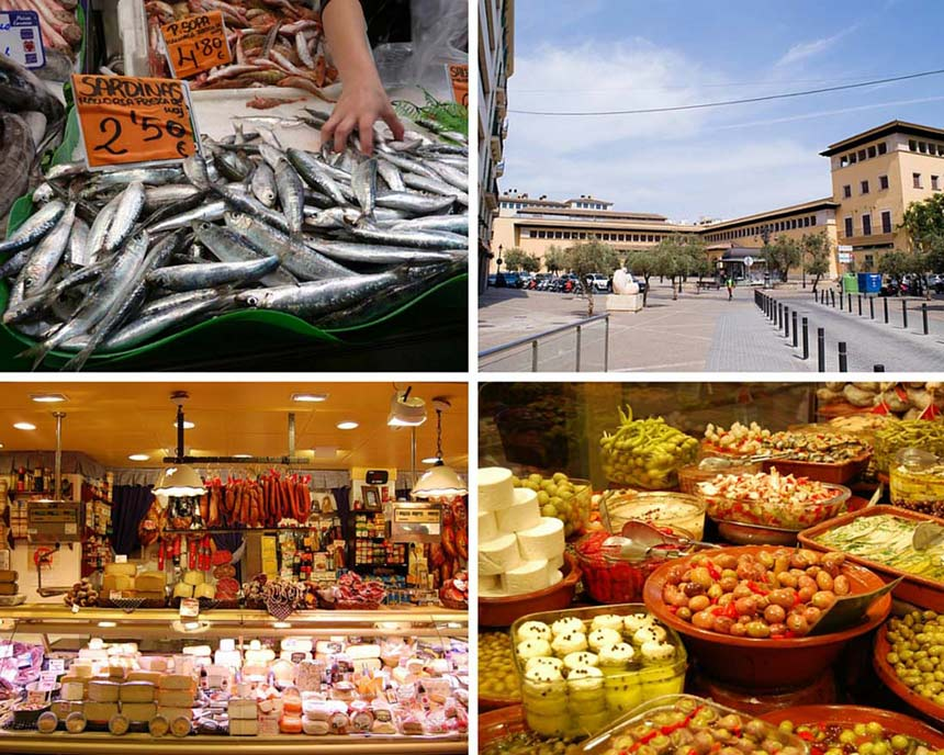 Fruits and fish in Olivar Market photo collage