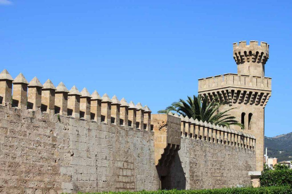 Old walls and tower of Royal Palace of Almudaina