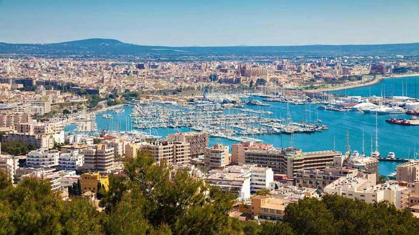Spectacular Palma de Mallorca aereal view